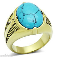 Oval Shape Turquoise Stone Gold Ep Stainless Steel Mens Ring