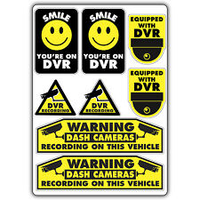 DVR DASH CAM WARNING STICKER SET car insurance decal cctv