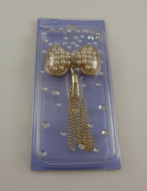 for Iphone 5 phone case bling faux pearl bow 3d white faux pearl & crystal