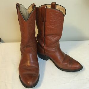 18368bb700d Details about Mason Mens Cowboy Boots Brown Leather USA Made 9 B Free  Shipping