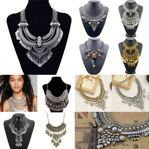 Fashion-Women-Crystal-Necklace-Bib-Choker-Pendant-Statement-Chunky-Charm-Jewelry