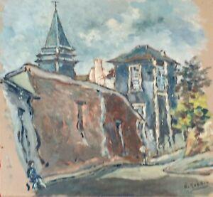 EGLISE-SAINT-CLOUD-HUILE-SUR-PAPIER-SIGNE-A-GUERIN-PARIS-VERS-1930