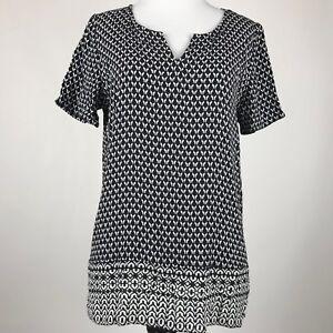 J-Jill-Women-White-and-Black-Rayon-Geometric-Print-Short-Sleeve-Top-sz-S
