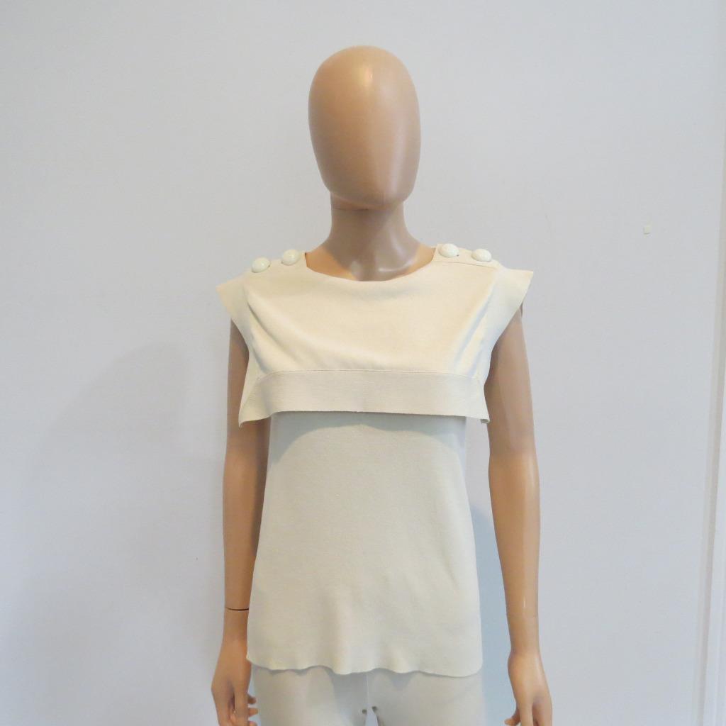 NWT Chloe Papyrus  Beige Cotton Sailor Collar Sleveless tröja  Top Sz XS