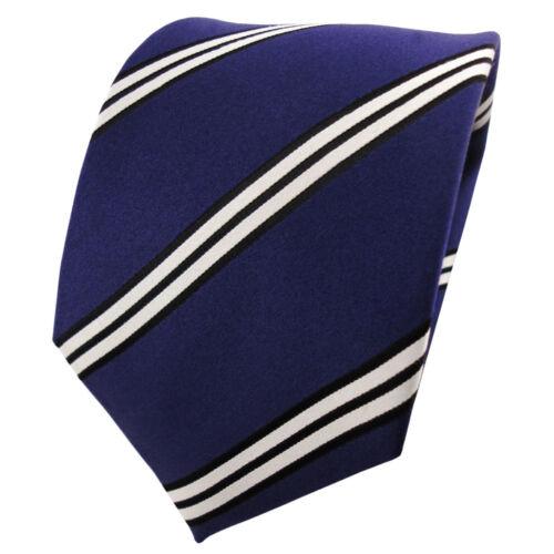 Satin Seidenkrawatte blau dunkelblau schwarz silber gestreift Krawatte Seide