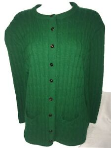 Vintage-Sweater-Cardigan-L-Wool-Cable-Knit-Pockets-Warm-Green