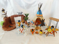 PLAYMOBIL WESTERN INDIAN CAMP W/ 8 NATIVE AMERICANS, ROCKS, TEEPEE,  EAGLE, WOLF