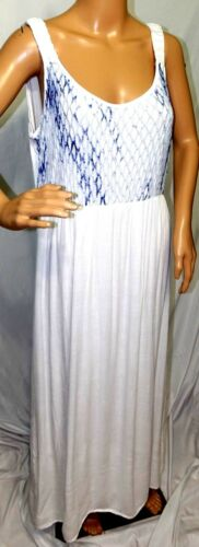 Studio West Women Plus Size 1x 2x 3x  White Blue Lined Maxi Long Summer Dress