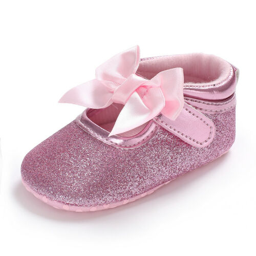 Newborn Baby Girl Princess Crib Shoes Infant Toddler Pré Walker First Shoes 0-18