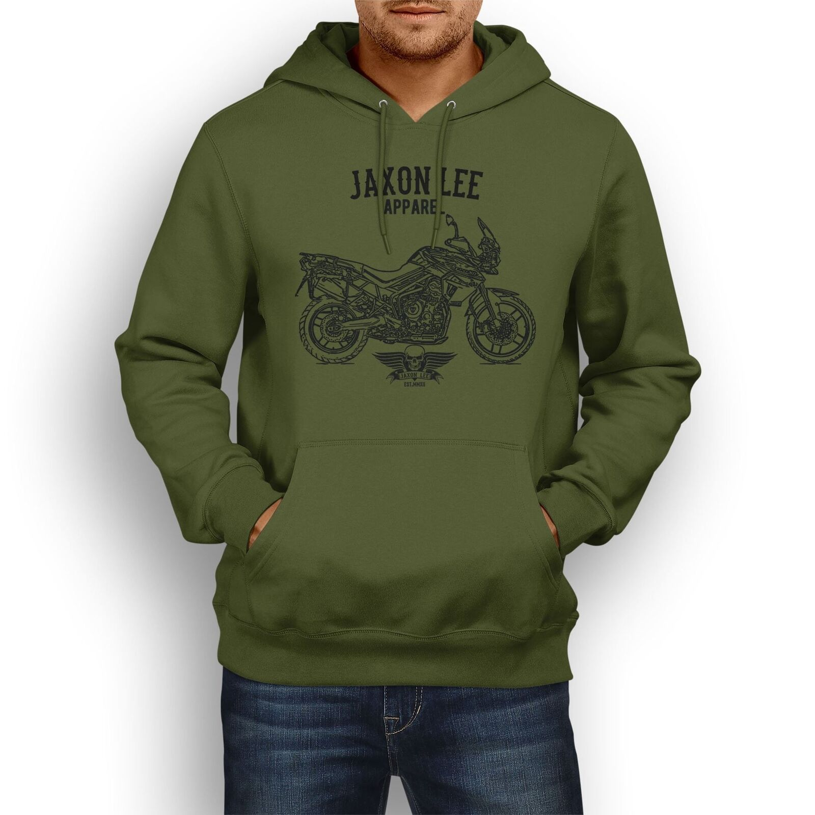 Jaxon Lee Triumph Triumph Triumph Tiger 800 XRT inspirot Motorcycle Art Hoody | Haltbar  975918