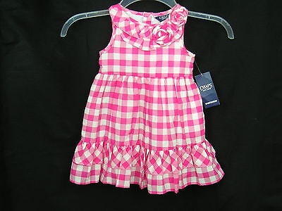 Girls Chaps Summer Dress Size 18 months Pink White Check 2 pc NWT