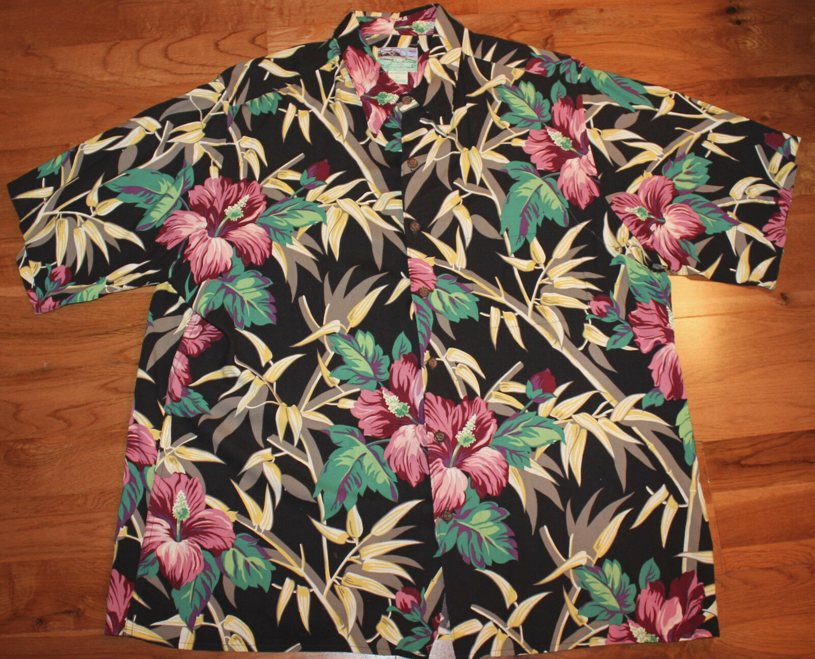 Reyn Spooner Large  Hawaiian Camp Shirt Hibiscus Flower
