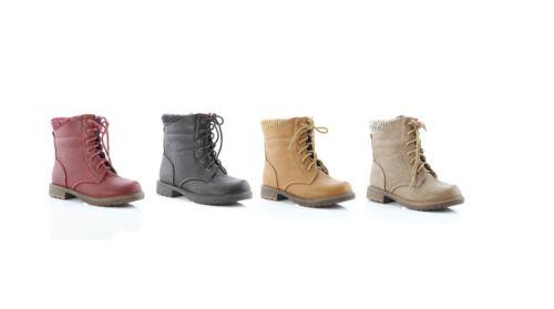 Nueva Juventud Chicas de talón bajo Clásico lazada combatir Botines De Cuero de imitación zapatos