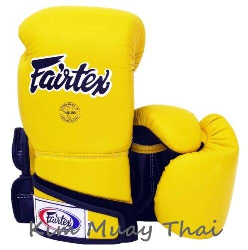 Fairtex Muay Thai MMA K1 Boxing Gloves BGV6 Yellow Black Super Sparring Gloves