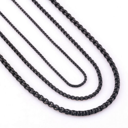 2019 Hot 2//3//4mm 9-40inches Stainless Steel Black Curb Cuban Chain for Men//Women