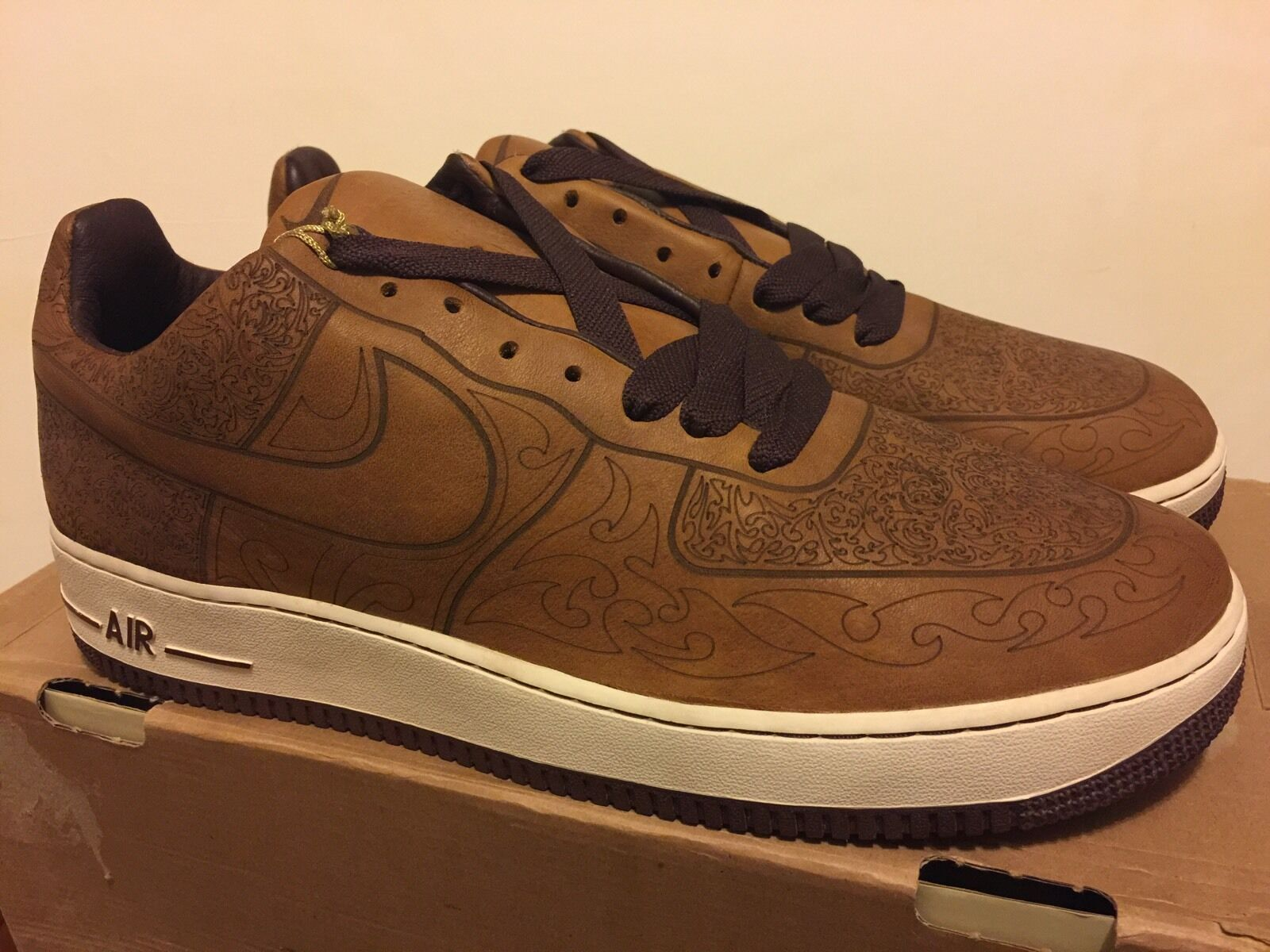 Nike Air Force 1 Mark Smith Laser Pack Med Brown /Sail Sz 13 DS NEW KITH