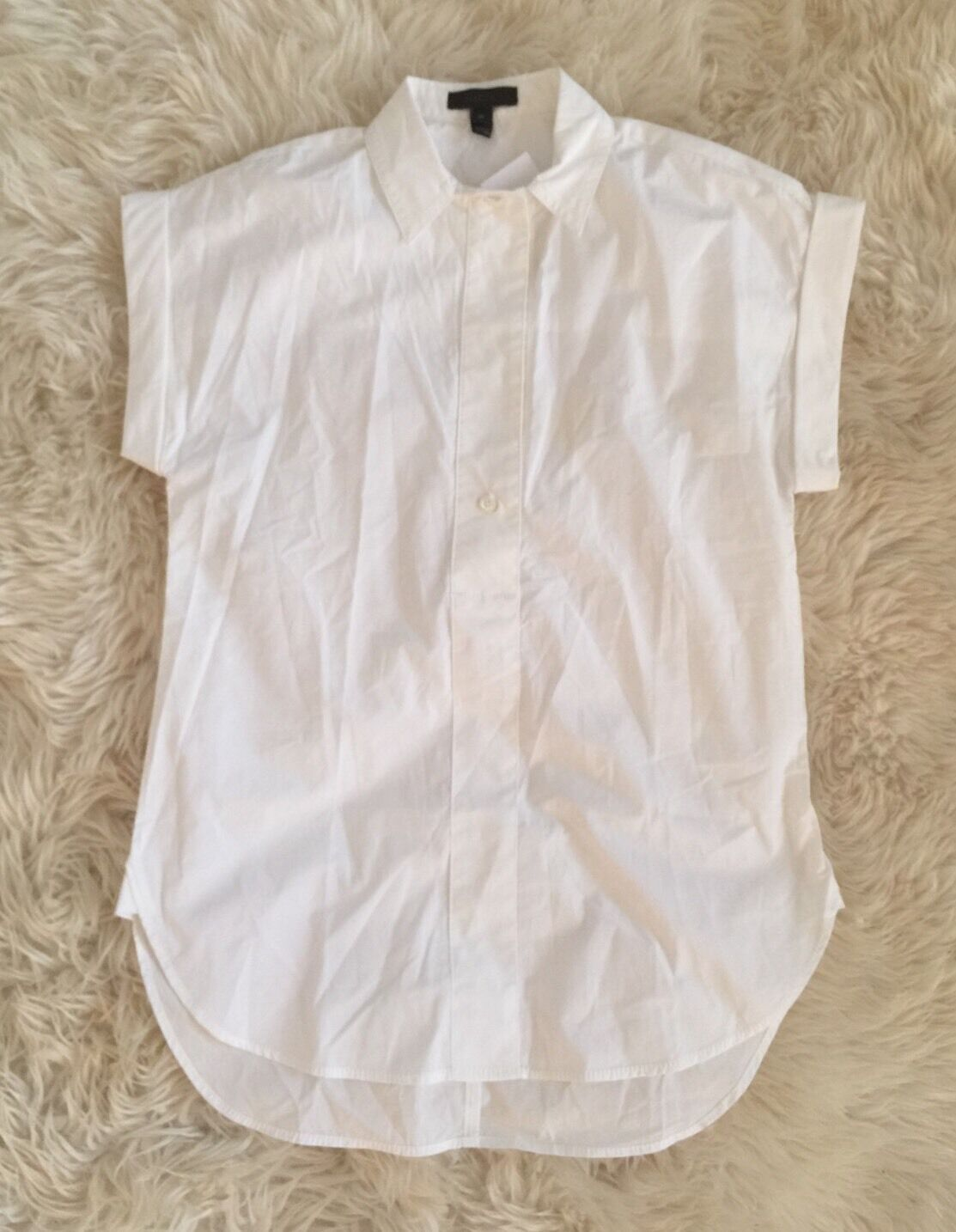 New Jcrew Petite short-sleeve popover shirt Weiß 0P C8252