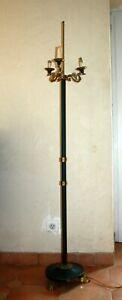 Adaptable Lampadaire Lucien Gau Style Emire Bronze Doré Et Laqué Vert 3 Feux Cygne Nouveau Design (En);