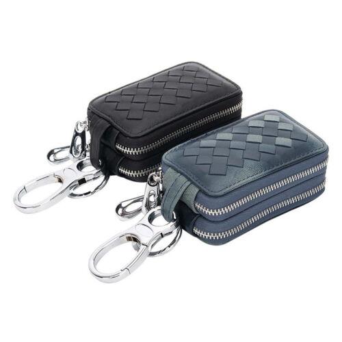 Women Men Genuine Woven Leather Sheepskin Keychain Car Key Bag Case Double Layer