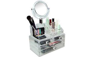 Organizer cosmetici specchio rimovibile box portatrucco portagioie espositore