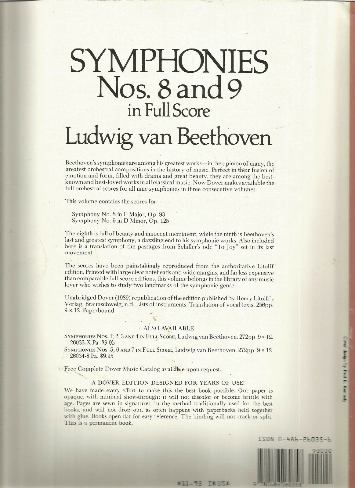 Dover Music Scores: Symphonies Nos. 8 and 9 in Full Score by Ludwig van  Beethoven (1989, Paperback) | eBay