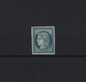 FRANCE-STAMP-TIMBRE-8f-034-CERES-20c-BLEU-S-JAUNATRE-DURRIEU-1862-034-NEUFxx-TTB-T940