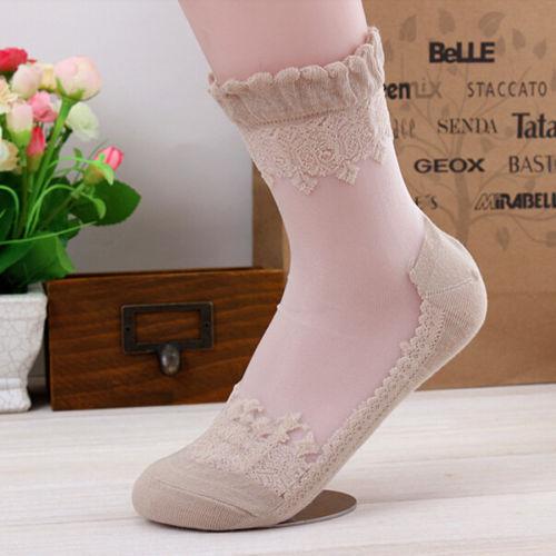 Women Ultrathin Transparent Beautiful Crystal Silk Lace Elastic Short Socks ilov