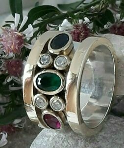 AAA-QUALITY-STERLING-925-SILVER-JEWELRY-EMERALD-SAPPHIRE-RUBY-TOPAZ-BAND-RING