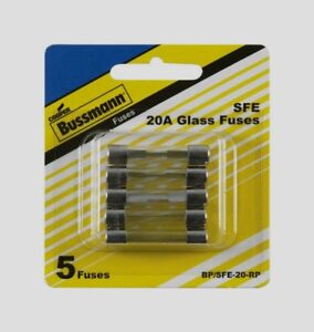 5pk-Bussmann-Buss-Fuses-BP-SFE-20-RP-3-Amp-SFE-Glass-Fuse-Mini-Automotive-NEW