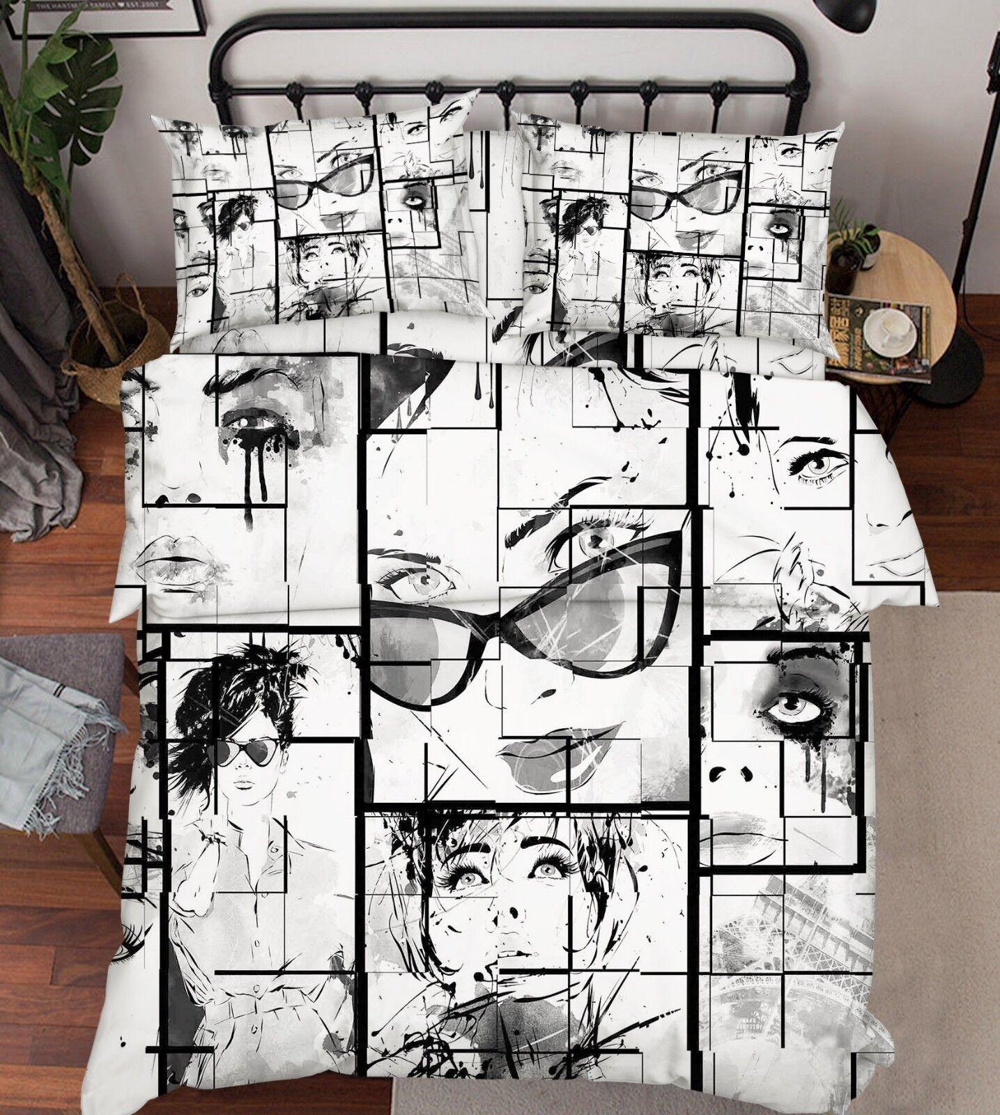 3D Doodle Comics 645 Bed Pillowcases Quilt Duvet Cover Set Single King UK Lemon