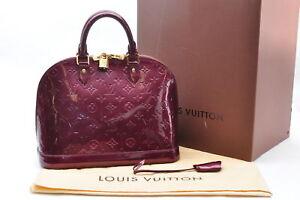 7fe70a1b0a25 Auth Louis Vuitton Vernis Alma PM Hand Bag Rouge Fauviste Purple ...