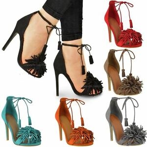 fd6d3cb244f5 LADIES WOMENS LACE UP HIGH HEEL SANDALS TASSEL FRINGE TIE UP PARTY ...