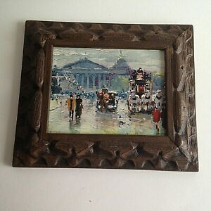 Resin-Frame-Horse-Drawn-Carriages-Wall-Hanging-7-034-X-6-034-Mid-Century-Home-Decor