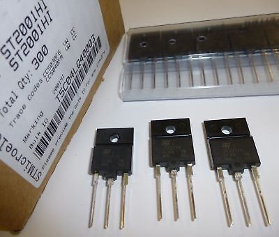 Ic 10A VCBO 1500V 3 pieces ST2001HI HIGH VOLTAGE NPN FAST-SWITCHING POWER TRANSISTOR ISOWATT218 Package VCEO 600V Ptot 55W