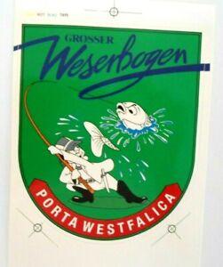 Souvenir-Aufkleber Large Weserbogen Porta Westfalica Fishing 80er