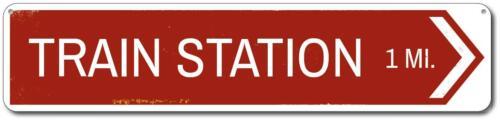 Personalized Train Station Directional Arrow Mileage Destination Aluminum