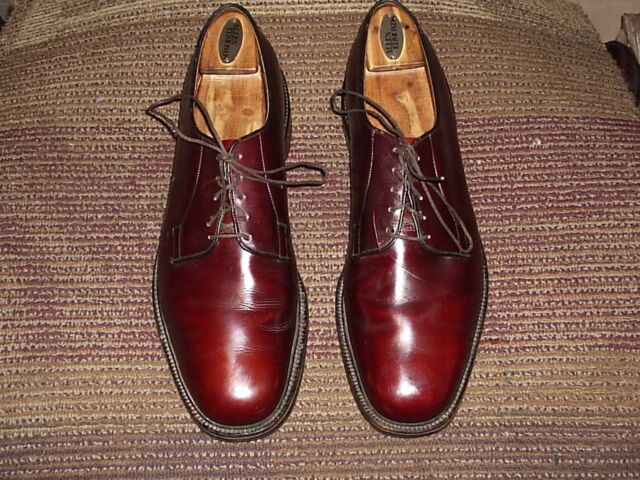 ALLEN EDMONDS LEEDS MEN OXFORD # 14 B BROWN CORDOVAN LEATHER MADE IN USA.