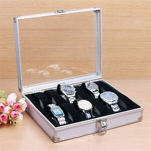 12 Slots Black PU Leather Watch Box Display Jewelry Case Organizer Holder L8