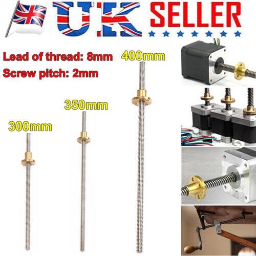 T8 3D Printer 8mm Lead Screw Rod Z Axis Linear Rail Bar Shaft 300mm 350mm 400mm