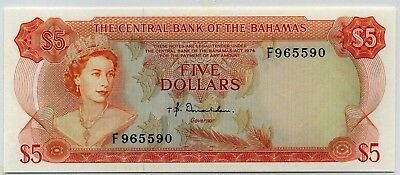Karibik Münzen Diplomatic Bahamas 5 Dollars 1974 P-37a Handgehoben Qe2 Limpid In Sight