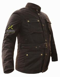 Black-Fashion-Wax-Motorcycle-Cotton-Jacket-Bike-Water-Repellent-Textile-Thermal