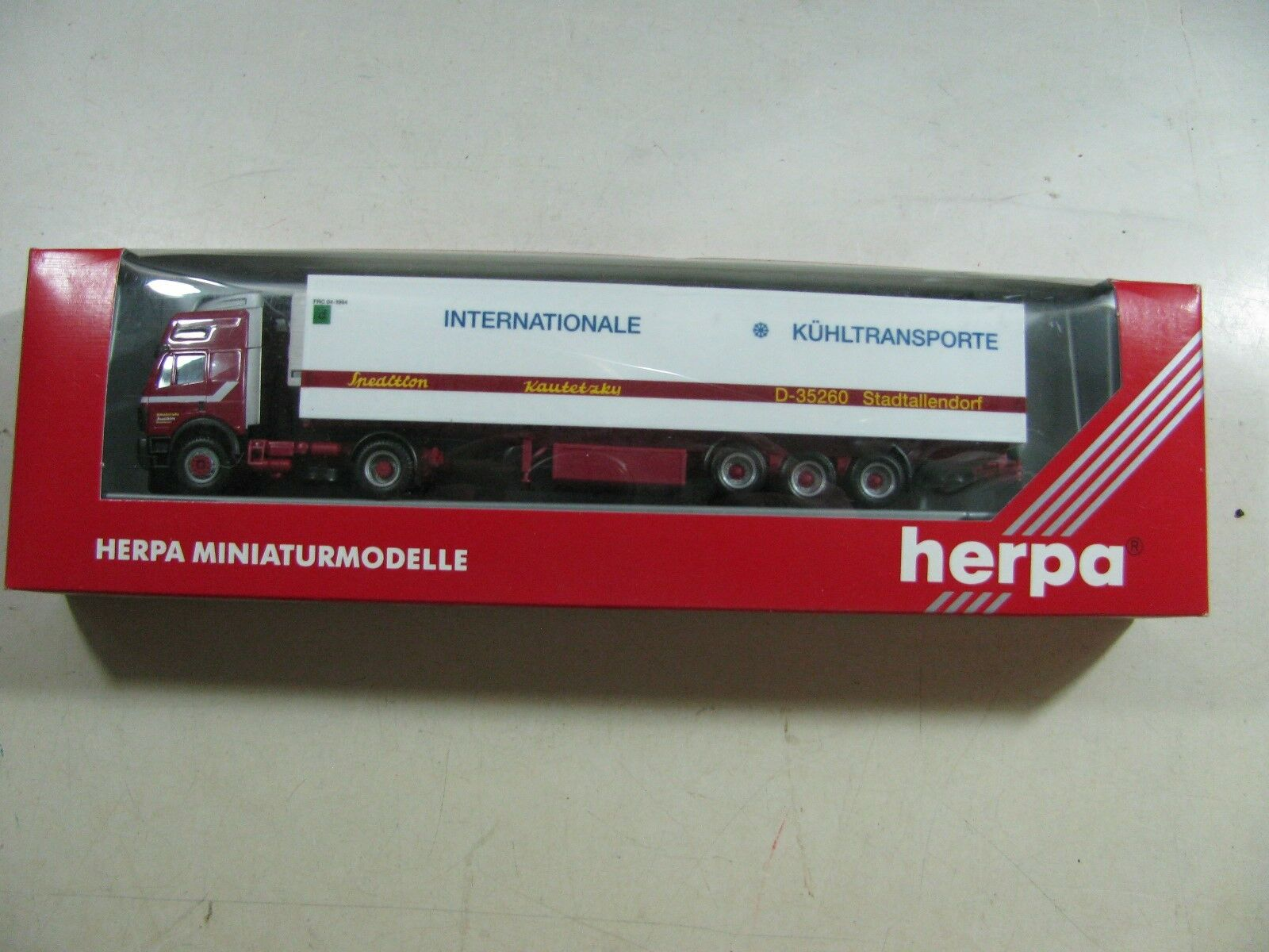 423   Herpa h0 camion kautetzky transporteur-internationale Isolation