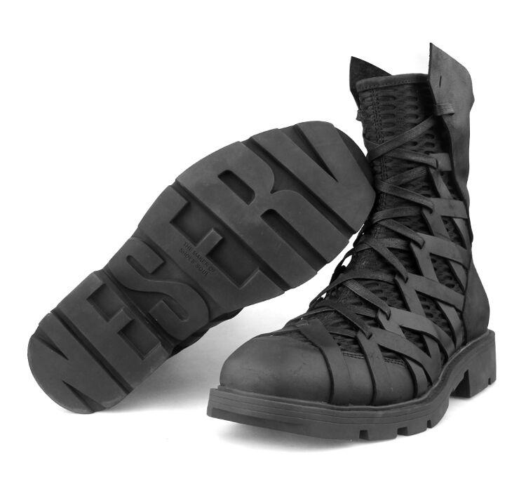 botas para Hombre Caballero Alta Top Cruz con tiras de cuero Net Tacones Gruesos militar A829