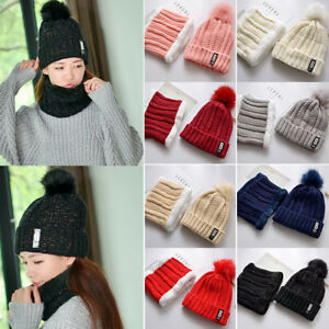 34e9b718444 Womens Girl Knitted Snood Beanie Cap Hat and Scarf Set Neck Warmer ...