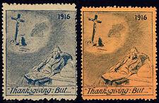 1916 Delandre WWI propaganda set of 2 - Jesus on Cross, Uncle Sam