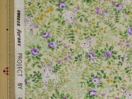 Japanese Fabric Cotton Kobayashi Rabbit /& floret Print Purple Flowers 1//2 Meter