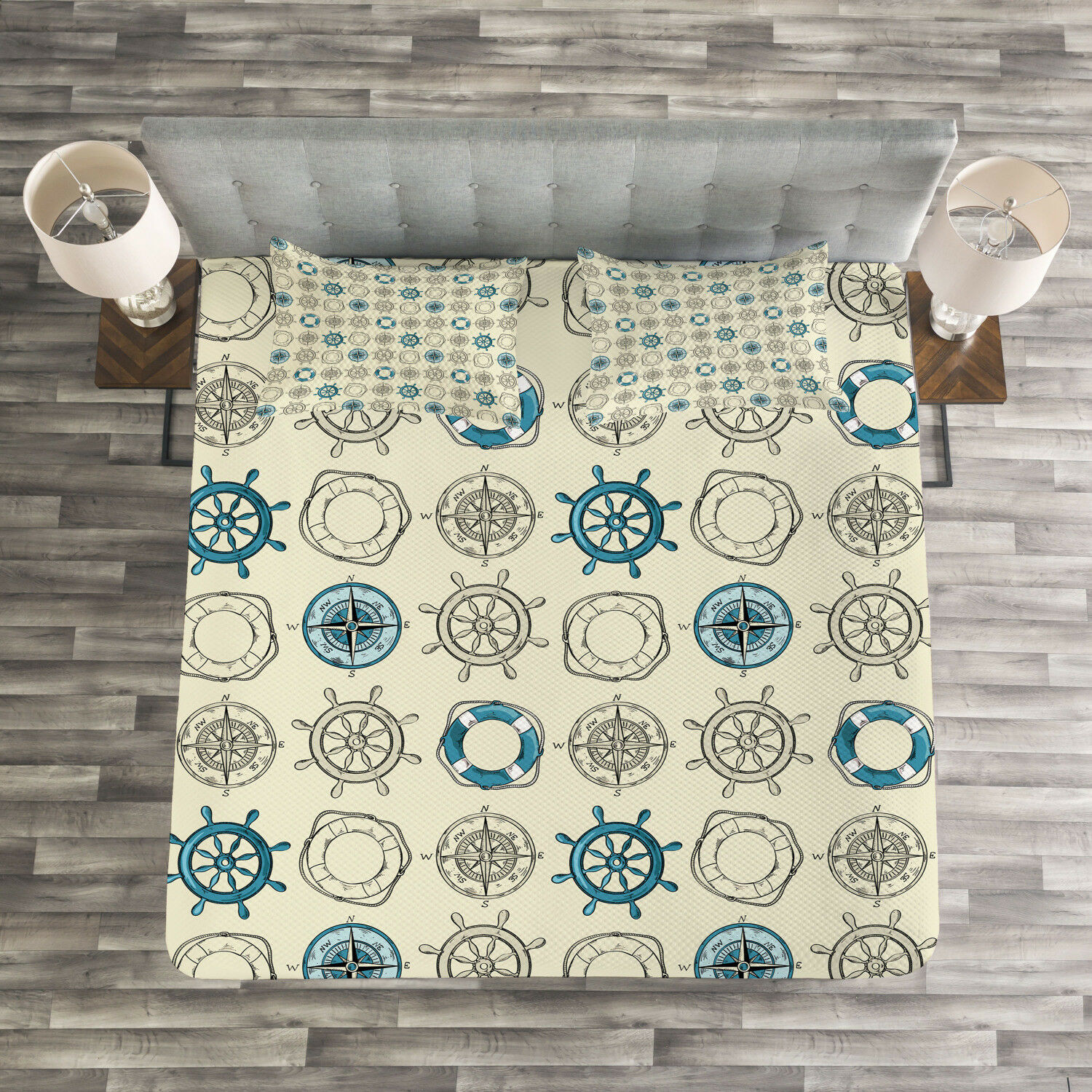 Compass Quilted Bedspread & Pillow Shams Set, Marine Inspired Retro Print