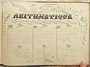 Lg-Mid-19c-Handwritten-Manuscript-Book-Album-Superb-Calligraphy-Maps-Art-Signed