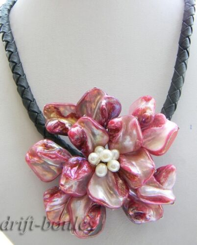 18/'/'70mm hand-made red Shell Flower Necklace