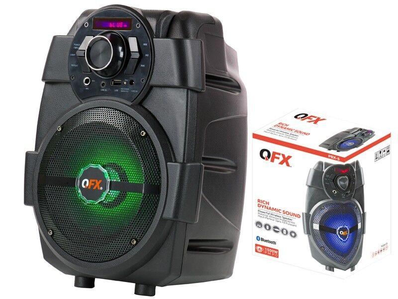 QFX PBX-5 6.5  Rechargeable PA Speaker +blueetooth +USB AUX FM +RGB LED Light